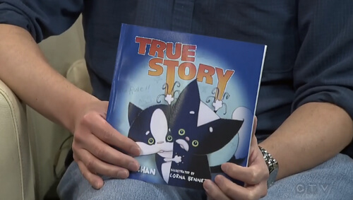 Marty's book True Story! You can purr-chase it on Saturday and watch him do a storytelling of it too!