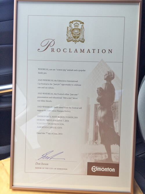 Official Cat Day Proclamation from the City of Edmonton/Mayor Don Iveson!